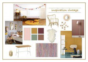 mood board d'une chambre enfant vintage douce et joyeuse