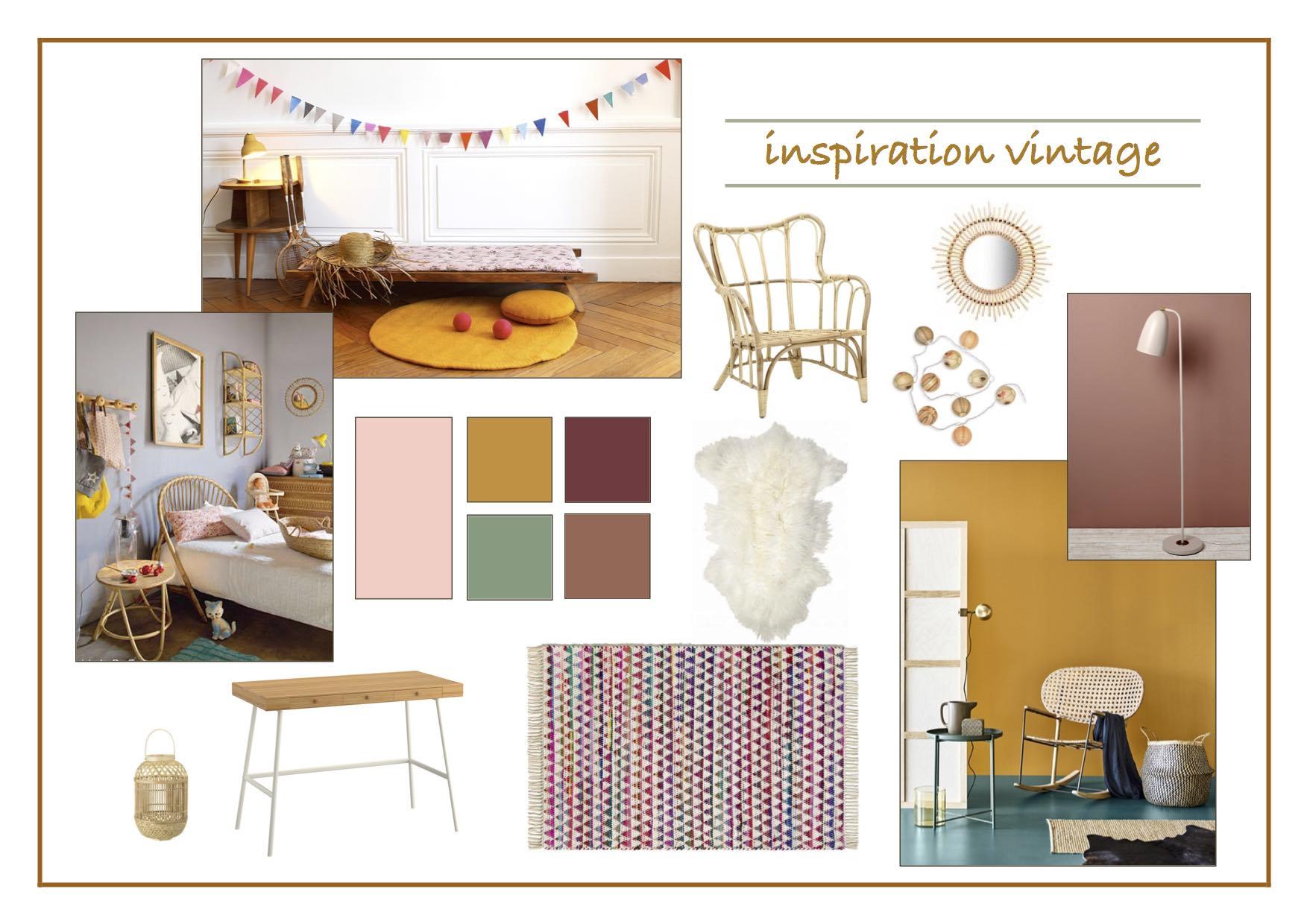 chambre-fille-vintage-rotin-colorée-flamant-rose